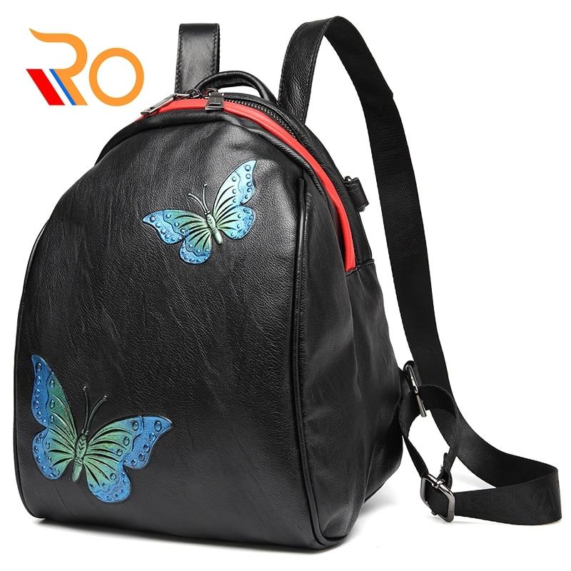 Sac à dos papillon en cuir véritable sac à bandoulière pour femme sac à bandoulière multifonctionnel sac d'école mignon sacs de voyage chauds