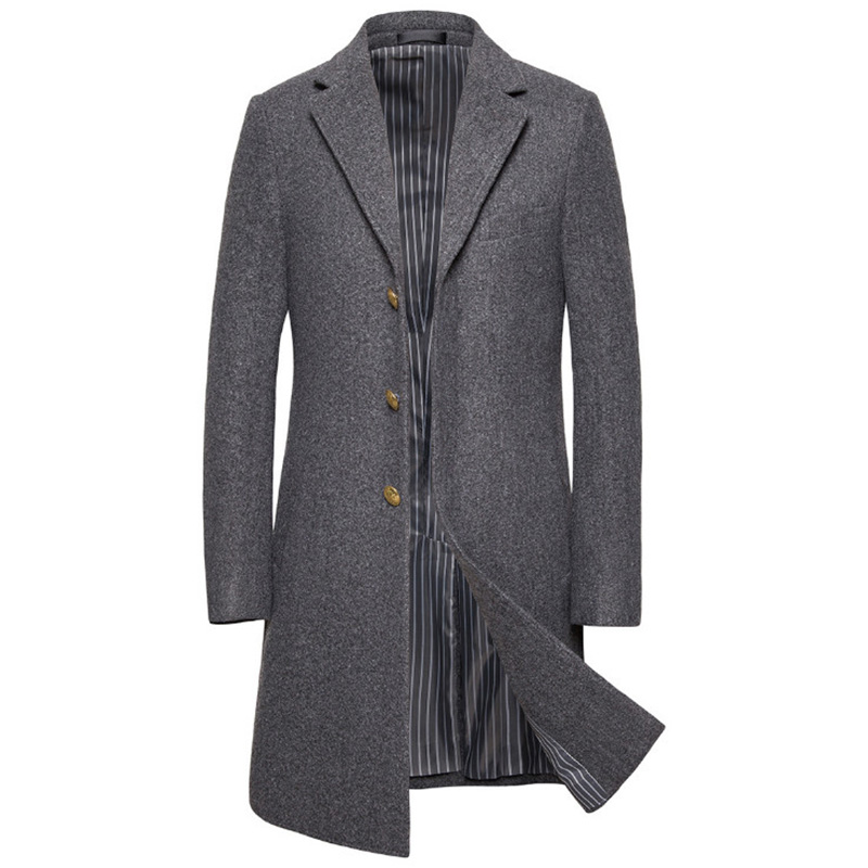 New Luxury Wool Coat Men Autumn Winter Single Breasted Long Trench Coat British Style Woolen Jacket Male Brand Clothing 5XL