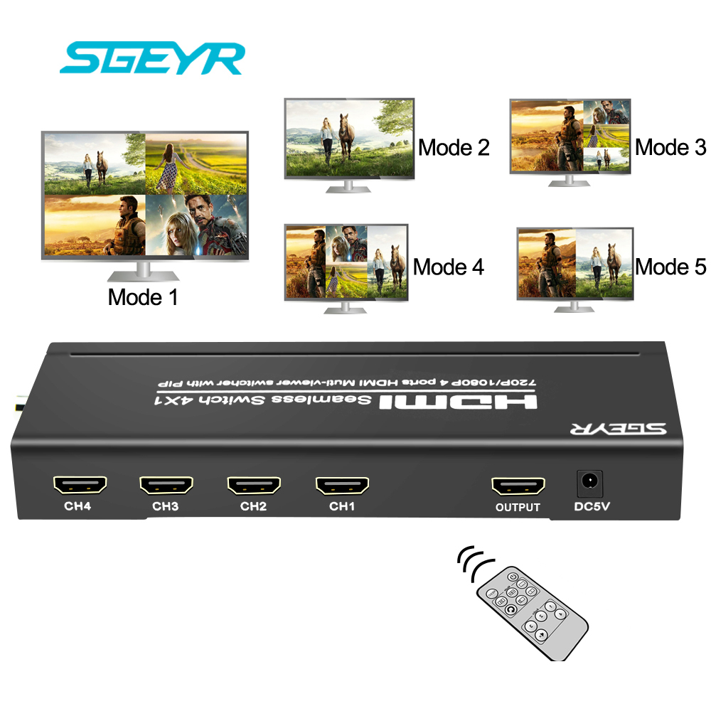 SGEYR 4X1 HDMI Multi-viewer HDMI Quad Screen Real Time Multiviewer with HDMI seamless Switcher function Full 1080P 3D with Rmote 4x1 hdmi multi viewer switcher hdmi quad screen real time multiviewer with hdmi fast switching function full 1080p 5 modes