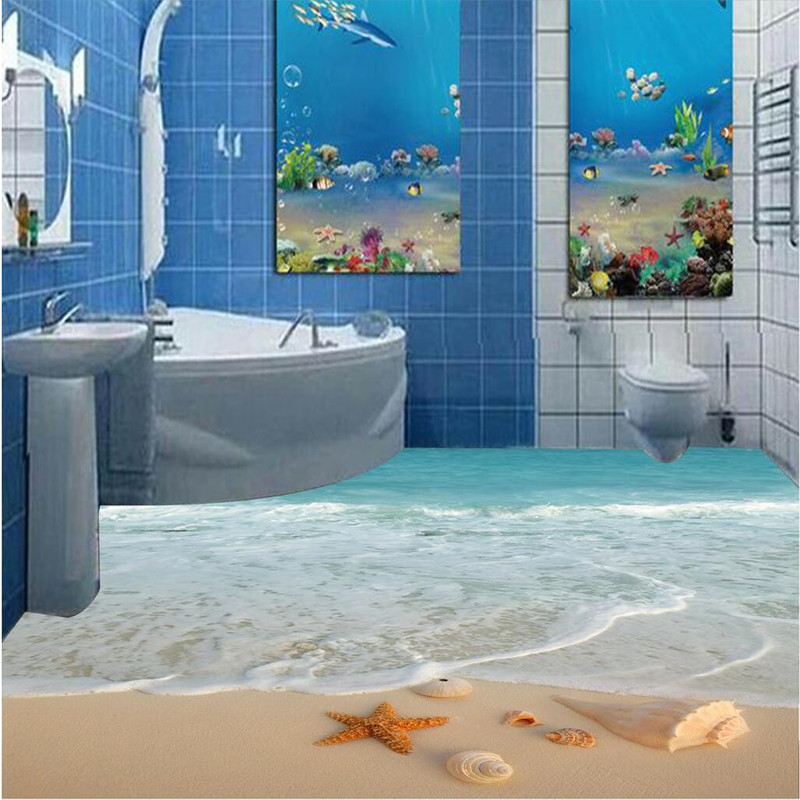 Attirant Beibehang Custom Floor Drawing HD Blue Shell Beach Scenery Waterproof  Living Room Bathroom PVC Wallpaper Background In Wallpapers From Home  Improvement On ...