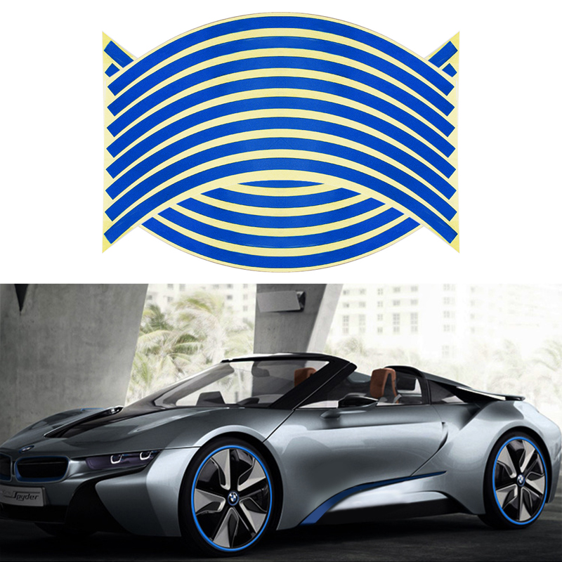 Blue Color Car Styling Wheel Sticker Reflective Rim