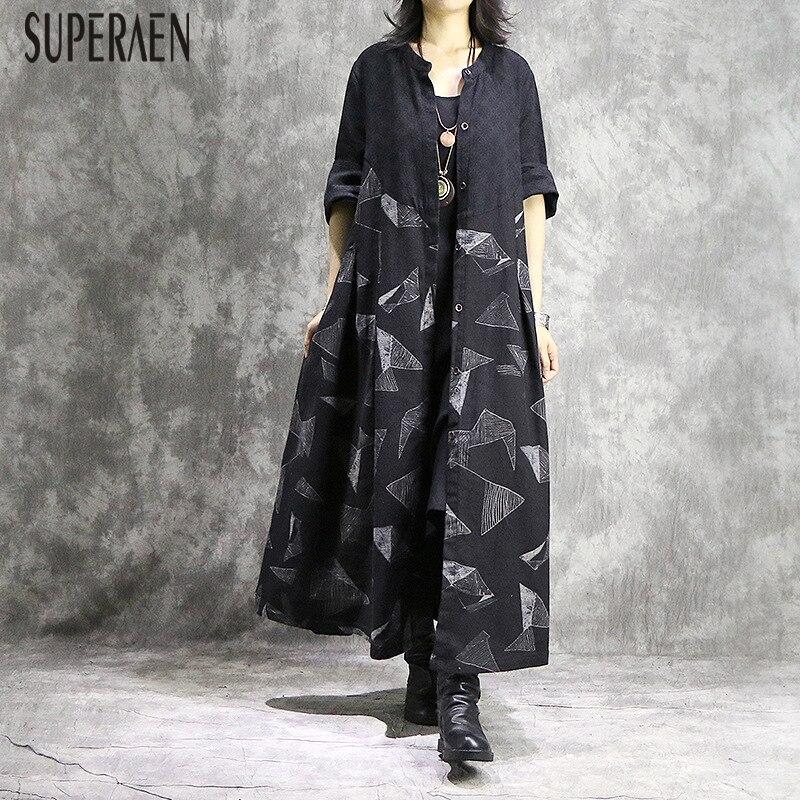 Mode Pour Superaen Féminine Femme Décontracté Coton Robe 2019 Vêtement Kelly Black Sac Sauvage Nouvelle Impression t5pwCqpx