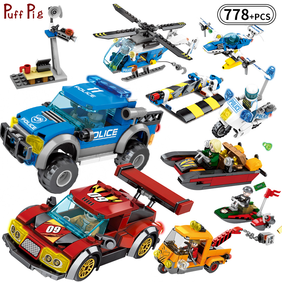 778pcs City Police Rescue Team Helicopter Truck Engineering Excavator Building Blocks Compatible Legoed Technic Toys For Child 196pcs building blocks urban engineering team excavator modeling design
