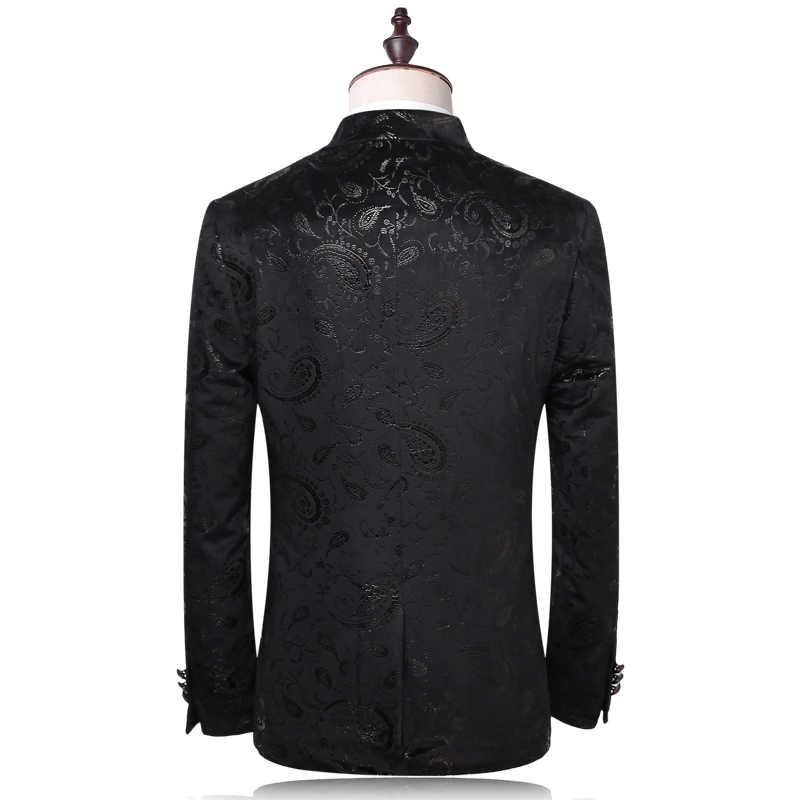 Plyesxale男性スーツ2018高級タキシード結婚式のスーツスリムフィットベルベットタキシードジャケット4xlファッションプリント花スーツq302