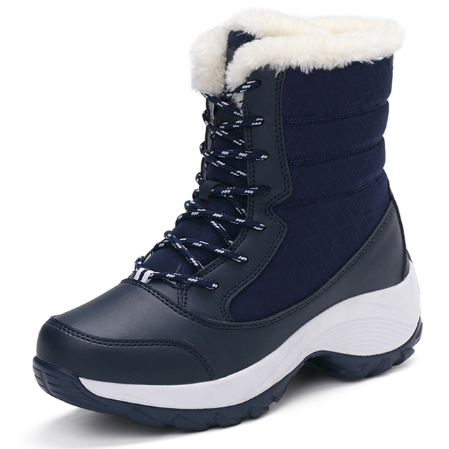 43529fc579f Women Boots Warm Fur 2018 Winter Shoes Women Snow Boots Female Non-Slip  Waterproof Black Mid-Calf Wedge Platform Boots Size 10