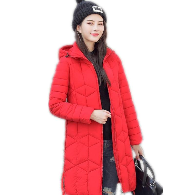Long Sleeve Winter Women Jacket 2018 Fashion Cotton-Padded Wadded Jacket Women Hooded Warm   Parkas   Female Solid Coats MujerCQ2665