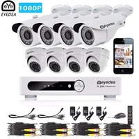 Eyedea 8 CH Email Alarm Phone View HDMI DVR 2 0MP 5500TVL White Bullet Dome Outdoor