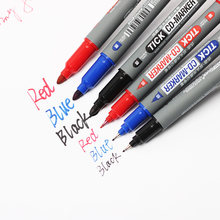 CD-197 Twin Tip Permanent Markers Fine Point Black Blue Red Ink Portable Fine Colour Marker Pen(China)