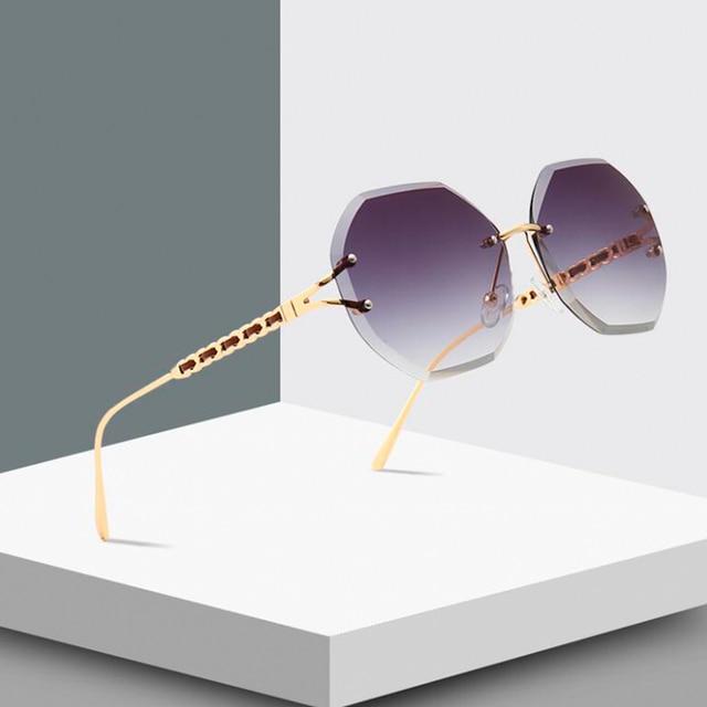 Fu E Orange Tint Rimless Sunglasses Fashion Woman 2018 Octagon Pink