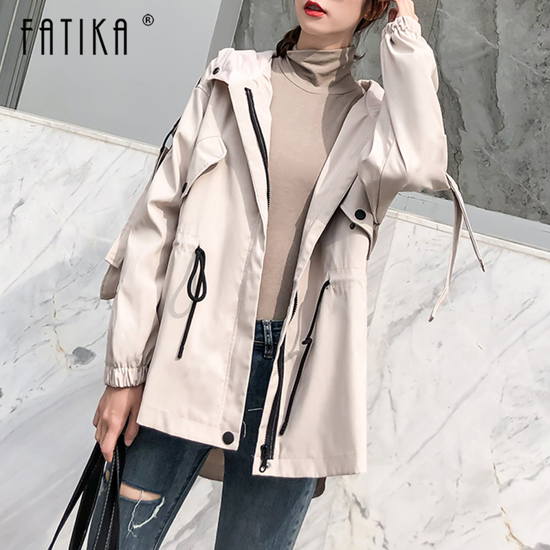FATIKA Women Button Solid Hooded Lace up   Trench   Women 2019 Spring Autumn Stylish Casual Pockets Coat Outerwear
