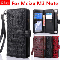Wallet Flip Case For Meizu M3 Note Luxury 3D Alligator Crocodile Skin Case Cover For Meizu