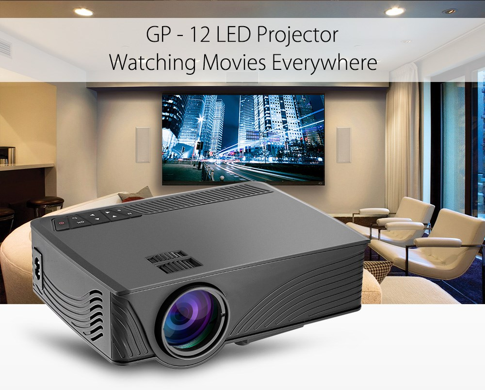 GP12 GP-12 Portable Mini LED Projector 2000 Lumens Home Cinema Theater Full HD 3D 1080P Video Home Theater Projector PK GP9 GP-9 ls1280 entertainment home theater projector hybrid laser led led lights high lumens beamer home cinema 23 languages pk xgimi