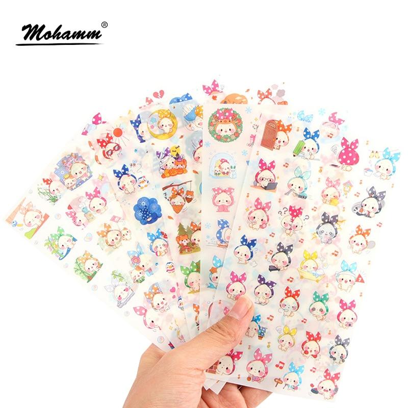 6Sheets/lot Cute Animals Pvc Transparent Korean Sticker Decoration Diy Ablum Diary Scrapbooking Label Sticker Kawaii Stationery