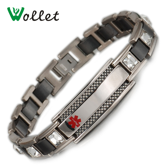 Wollet Medical Alert Id Bangle White Stone For Women Men Black Ceramic Health Magnetic Stainless Steel