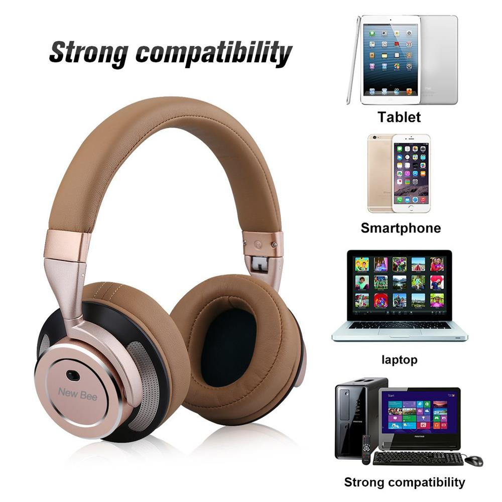 Active Noise Cancelling Wireless Bluetooth Headphone Stereo Deep Bass Headset Over-ear Earphone with Mic for Phone PC