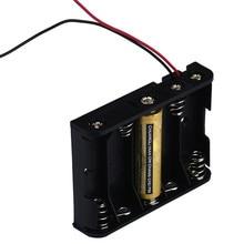 Box Suporte Para 5 x AA Caixa De Armazenamento Da Bateria de Plástico Preto Com Wire Leads NEW drop shipping HOT SALE 18Feb03