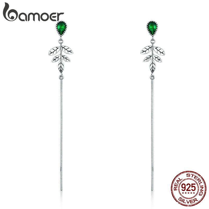 BAMOER New Arrival 100% 925 Sterling Silver Spring Tree Leaves Green CZ Long Drop Earrings for Women Fashion Jewelry S925 SCE333