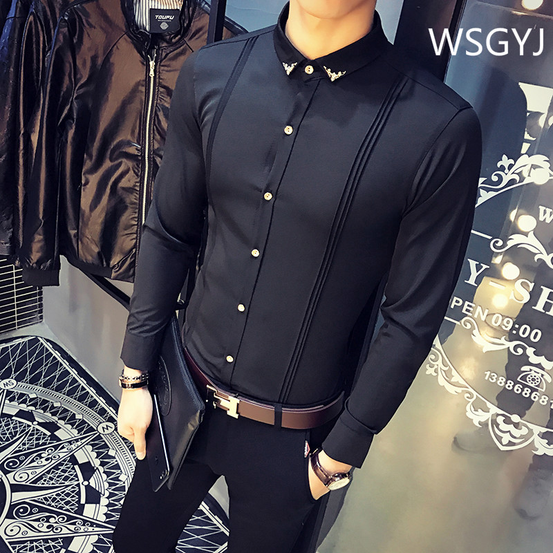 Brand Men's Formal Shirt Korean Slim Fit Tuxedo Shirts Male Long Sleeve Red Black White Casual Shirts Camisa Masculina