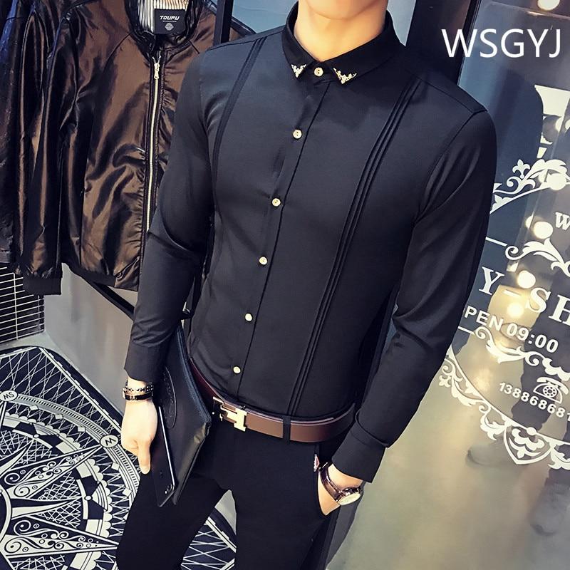 Brand Men's Formal Shirt Korean Slim Fit Tuxedo Shirts Male Long Sleeve Red Black White Casual Shirts Camisa Masculina