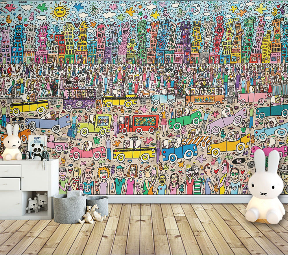 8d Cartoon thousand people photo wall sticker for lliving