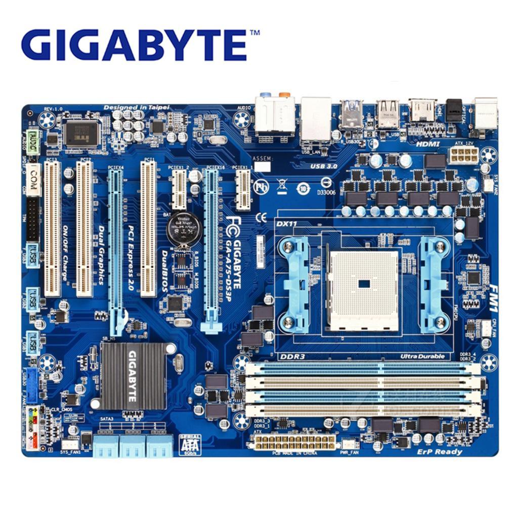цена Socket FM1 For AMD CrossFireX Technology A75 Gigabyte Motherboard GA-A75-DS3P Desktop Mainboard Boards A75-DS3P DDR3 64GB онлайн в 2017 году
