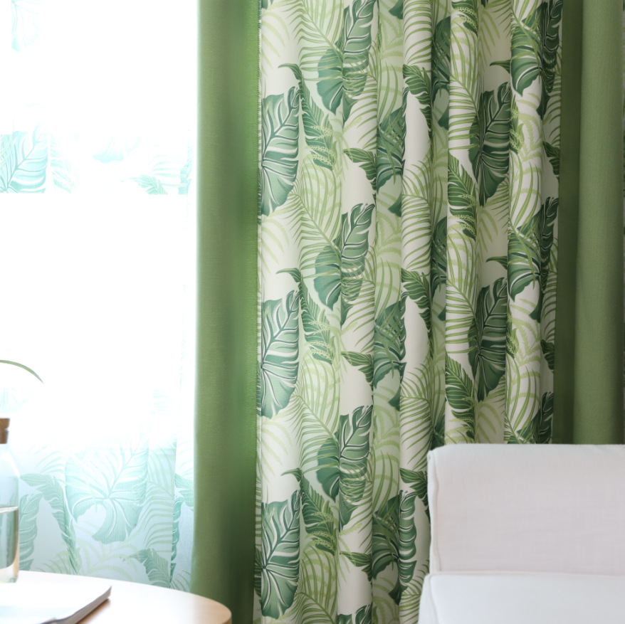 US $10.05 33% OFF|Southeast Asian Rainforest Cotton Green Curtain American  Country Living Room Floor Window Curtain Cloth Finished Product-in Curtains  ...