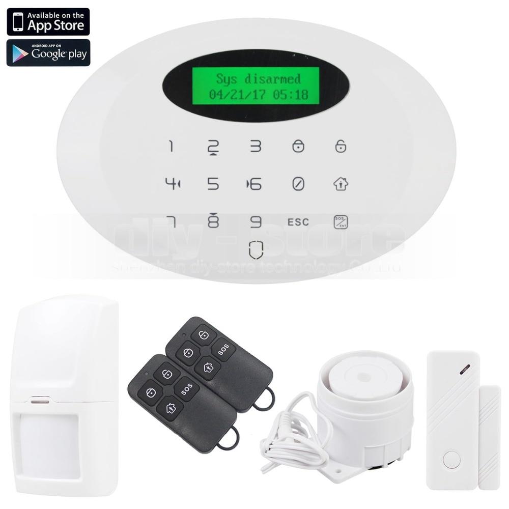 DIYSECUR Wireless&wired GSM Burglar Intruder Alarm System With Touch Keypad wireless smoke fire detector for wireless for touch keypad panel wifi gsm home security burglar voice alarm system