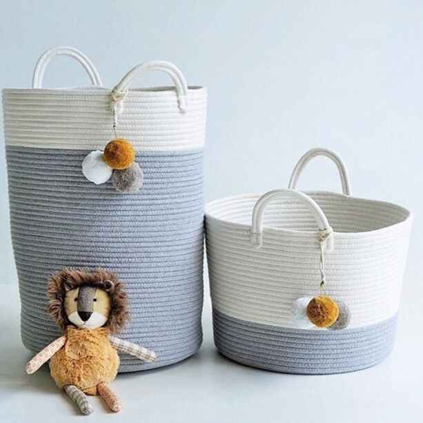Cotton Rope Storage Basket with Handles Toys Bags Baskets for Kids Baby Toys Laundry Nursery Hamper Home Decoration Organizer