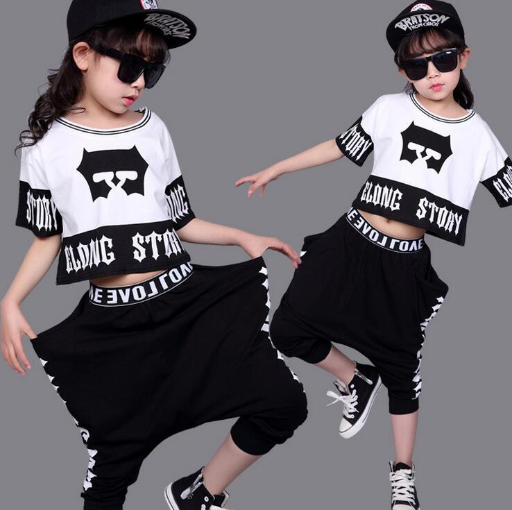 2017 New Summer Children's clothing set Hip Hop harem Suit Girls Jazz Dance ds Performance kids Fashion costume pants & T-shirts new girls latin dance performance clothing dance clothes suit costume quilted dress