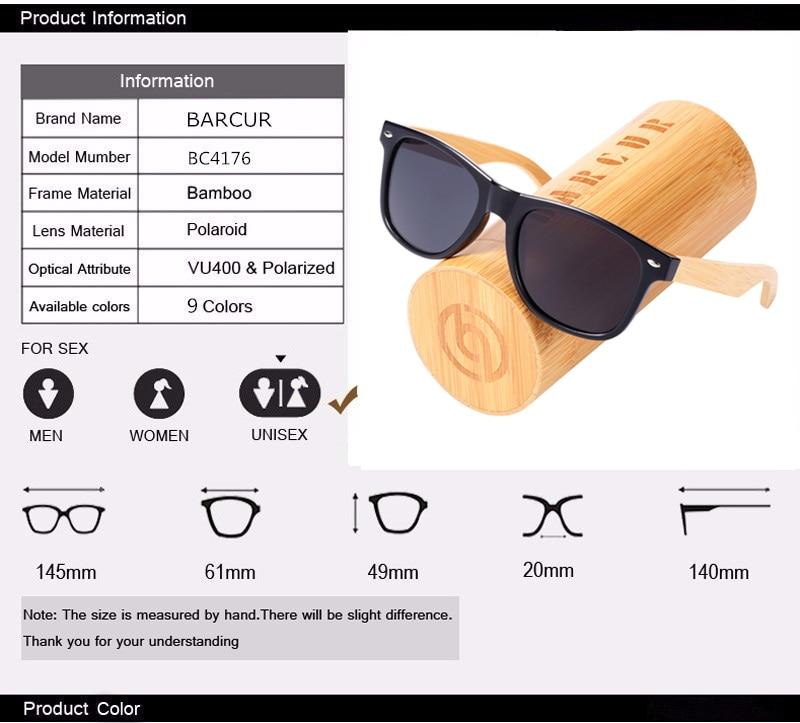 BARCUR Women Men Wooden Bamboo Sunglasses 12