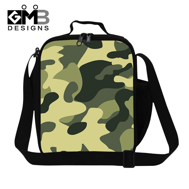 fashion cool thermal lunch bag children camouflage food storage kids