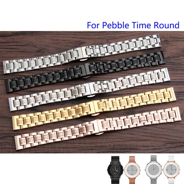 Calidad Sólida de Acero Inoxidable Venda de Reloj de 14mm Para Pebble Tiempo Ronda Señoras de la Correa de Acero de Lujo