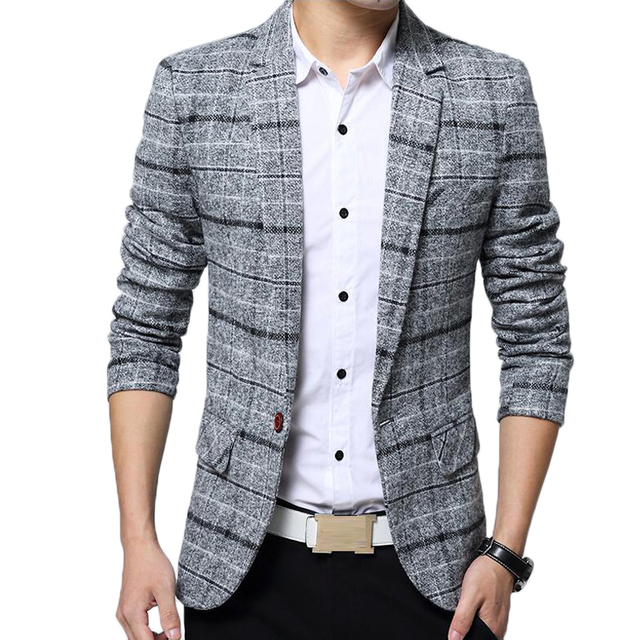 6958f84a087 Blazer men slim fit suits jacket Brand clothes mens formal spring autumn  coat casaco masculino male casual plaid blazers Jackets