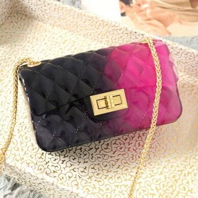 Handbag Ladies Jelly-Bag Shoulder-Bag Teenager Small Women 100pcs Silica-Gel Diamond Lattice