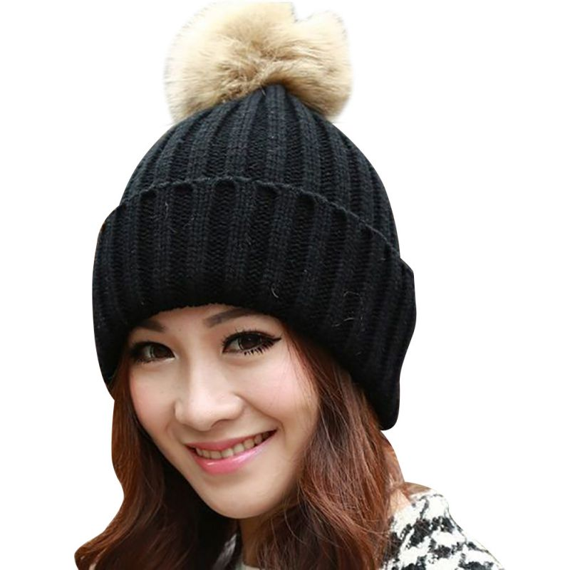 2016 Fur Pompom Hat Ladies Warm Knitted Wool Beanie Cap Winter Dyed Real Raccoon Hats