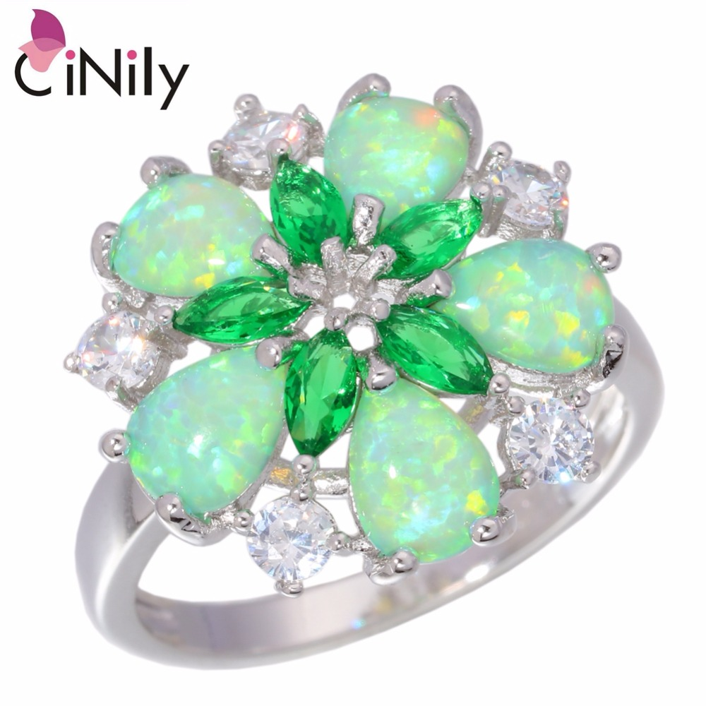 CiNily Created Green Fire Opal Crystal Cubic Zirconia Silver Plated Ring Wholesale Retail for Women Jewelry Ring Sz 6-10 OJ5065