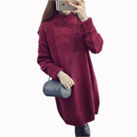 2017 New Women Turtleneck Knitted Long Sweater Winter Spring Long Sleeve Warm Pullover Sweaters Dressses Korean