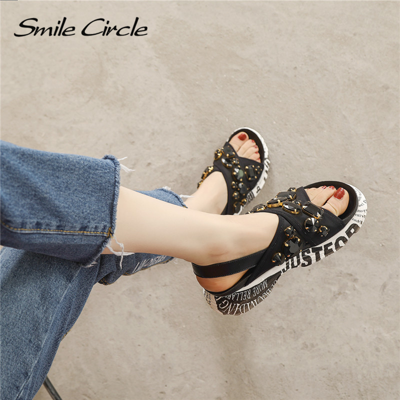 Mujeres Diamantes Plataforma Negro Ete Zapatos Sandalias Moda Círculo brown Plana Imitación De Chaussures Sonrisa Mujer 01 Las Verano Femme 2018 nqBfgxqY7z