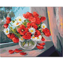 WEEN Red Flowers-DIY Painting By Numbers Kit For Kids, Wall Art Picture, Acrylic Paint, Canvas Home Decor 40x50cm