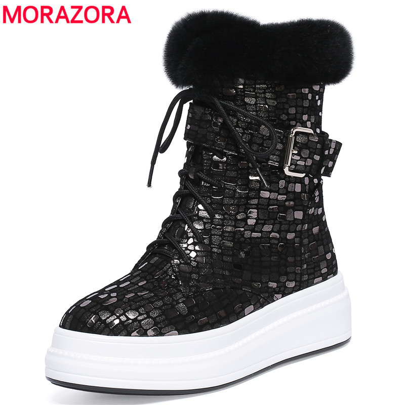 MORAZORA 2018 fashion hot sale new winter warm snow boots lace up genuine leather ankle boots for women flat platform shoes цена