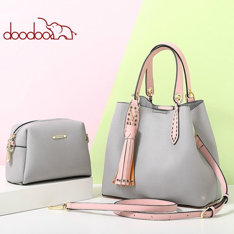 DOODOO 2pcs Female Handbag Shoulder Bag Bucket Bag Fashion Women Hobo Bags Female PU Top-handle Bolsas Large Capacity Crossbody цена 2017
