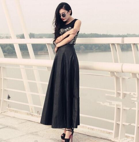 d5fb13a8c88 High-end Custom Plus Size 7XL Faux Leather skirts womens 2017 Autumn Winter  A-line Vintage Black PU Long Maxi Pleated Skirt