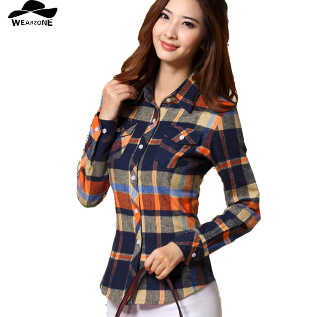 2016 Hot Sale Spring and Fall Women's Shirts casual long-sleeve blouse cotton slim Women plaid blouse shirt clothing female