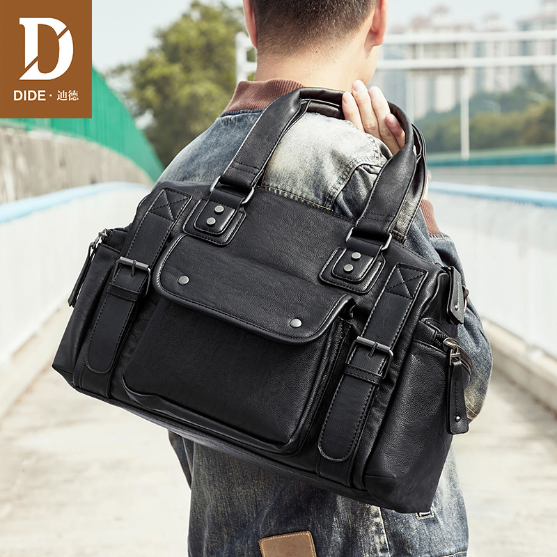 DIDE Large Capacity Short Travel Sports Fitness Bag Shoulder Messenger Bag Men Black Business Office Handbag Leather