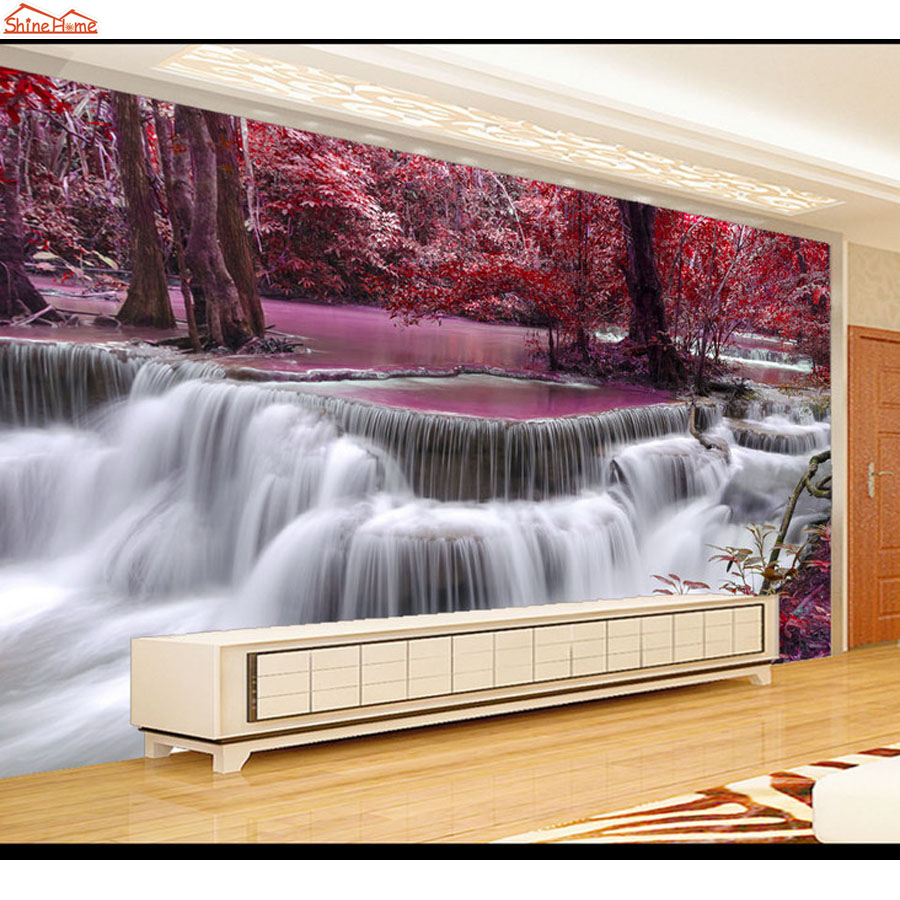 Shinehome-Modern Wallpapers Tree Forest Waterfall 3D Mural Rolls Wallpaper for Living Room 3 d Wall Paper Roll Papel De Parede shinehome modern waterfall natural wallpaper roll 3d wallpapers for wall 3 d walls paper rolls papier peint papel de parede 3d