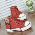 A generation of fat children Spring models genuine one off denim high-top canvas shoes boys side zipper 660