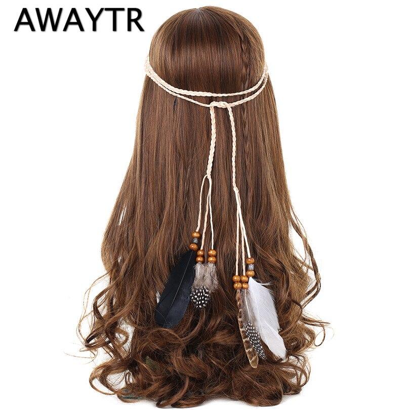 AWAYTR Halloween Design Feather Headbands Headdress Women Fashion Bohemian Indian Bead Feather Leather Rope Hair Accessories