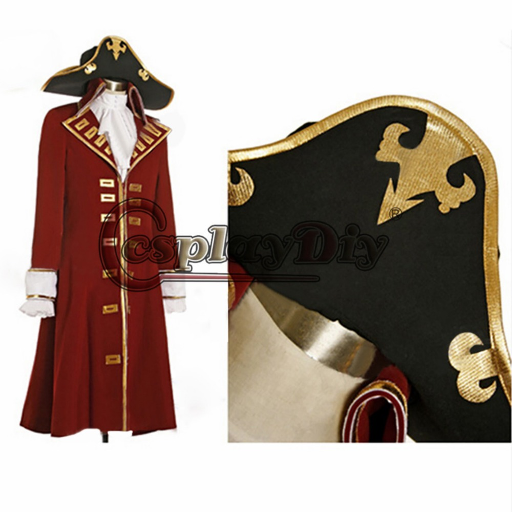 Cosplaydiy Custom Made Pirates of the Caribbean Captain Scarlet Black Heart Trench Adult Men ...