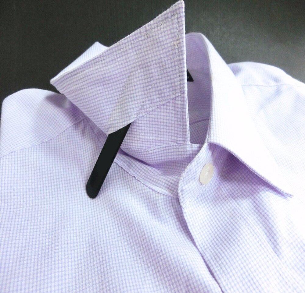 Yellow Shang Zun 16 Pcs Plastic Collar Stays Printing Wood Texture 2.37