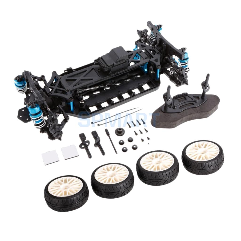 1/10 4WD RC Drift Car Frame Chassis Kit w/ Shock Tower Servo Linkage Turnbuckles Tyres for HSP HPI Traxxas hpi sprint 2 drift camaro 4wd 2 4ghz дрифт